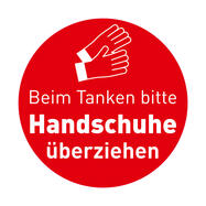 """Tankstellen Aufkleber """"Bitte Handschuhe überziehen"""""""