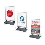 """Regenwasserfester Kundenstopper WindSign """"Seal"""" mit verschiedenen Plakaten"""