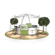 Messestand FD 22, 6.500 mm x 3.500 mm x 6.500 mm (B x H x T)
