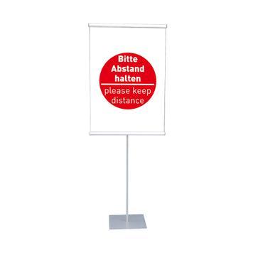 """Poster- und Banner-Display """"KN"""" mit Plakat - Bitte Abstand halten"""