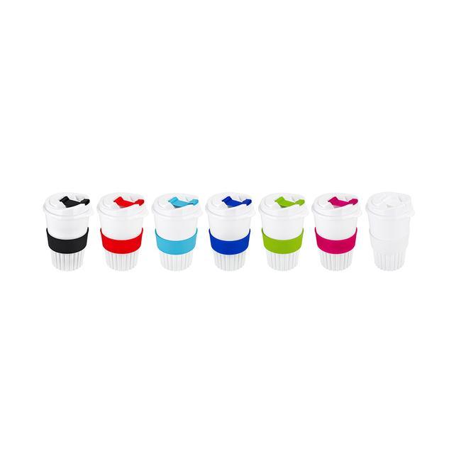 Bio Coffee-to-go-Becher mit farbigen Applikationen