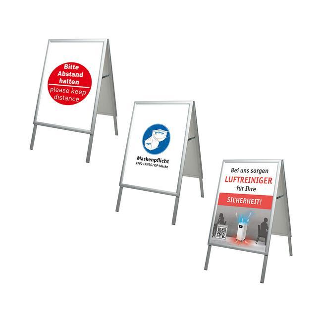 """Regenwasserfester Kundenstopper """"Eco 35"""" mit verschiedenen Plakaten"""