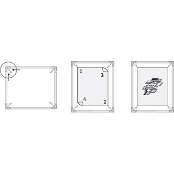 Spannrahmen aus Aluminium mit Kunststofffederklemmen